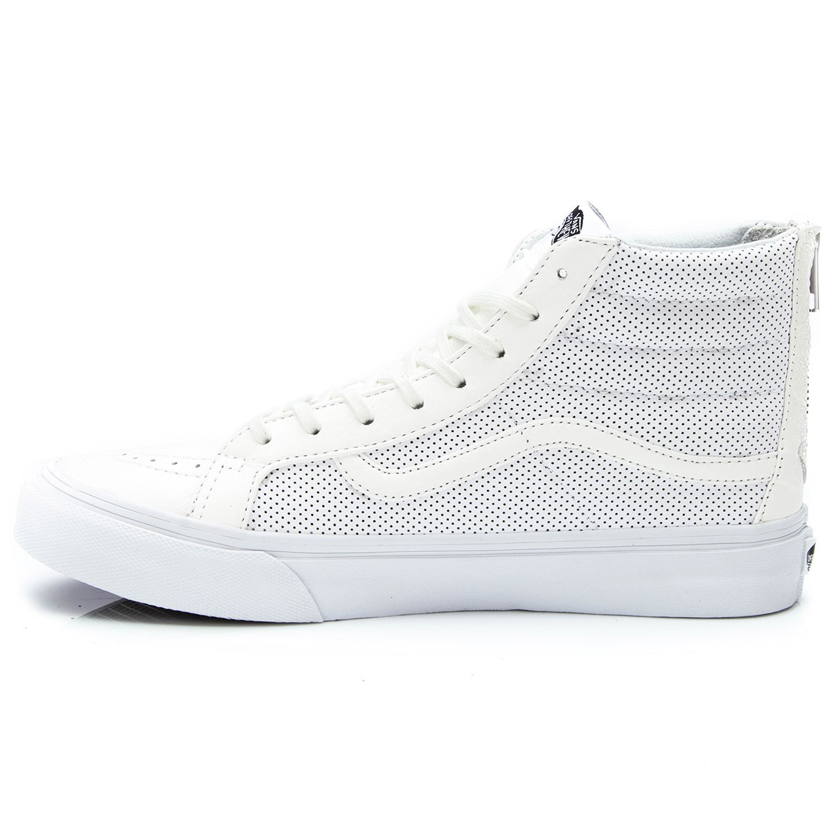 Vans SK8-HI Slim Zip Perforated Leather Shoes - True White - 4.5 eb1efb5dc