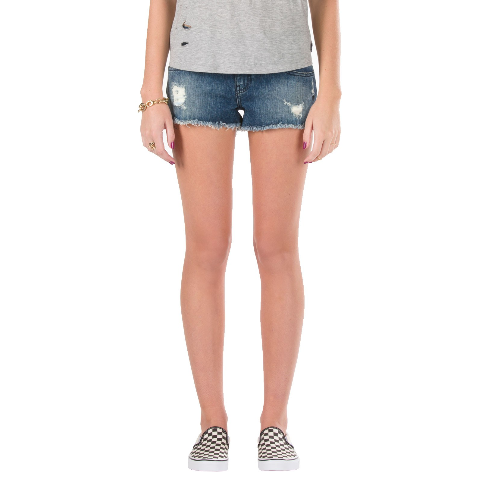 Vans Women's Destroyed Mini Denim Shorts - Indigo Destroyed