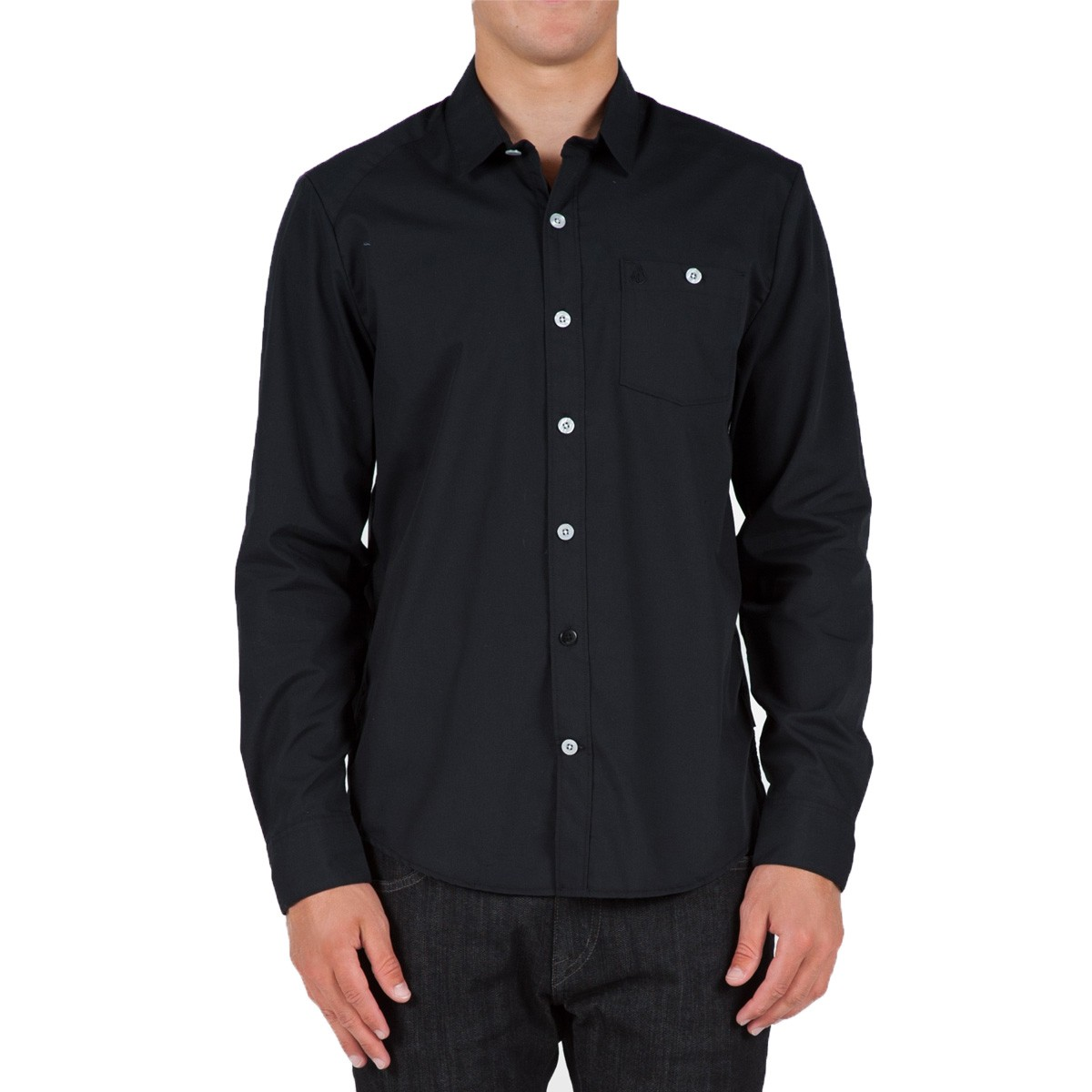 Everett Solid Long Sleeve Woven Shirt - Black