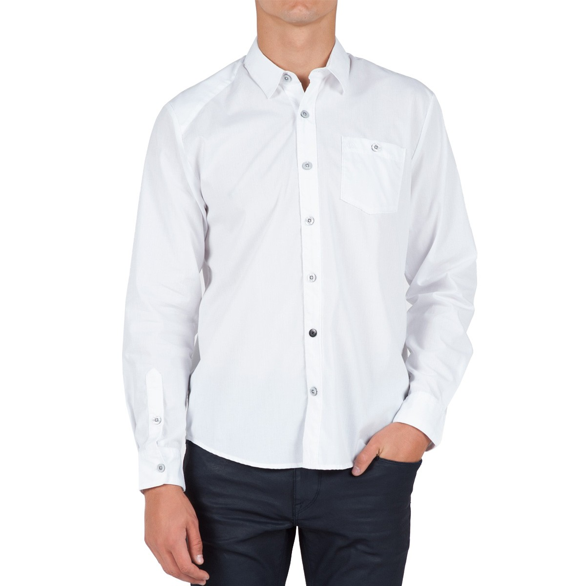 Everett Solid Long Sleeve Woven Shirt - White