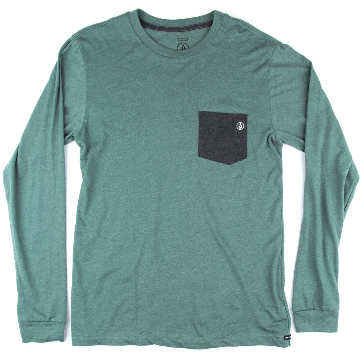 volcom fall switch long sleeve pocket t shirt forest heather