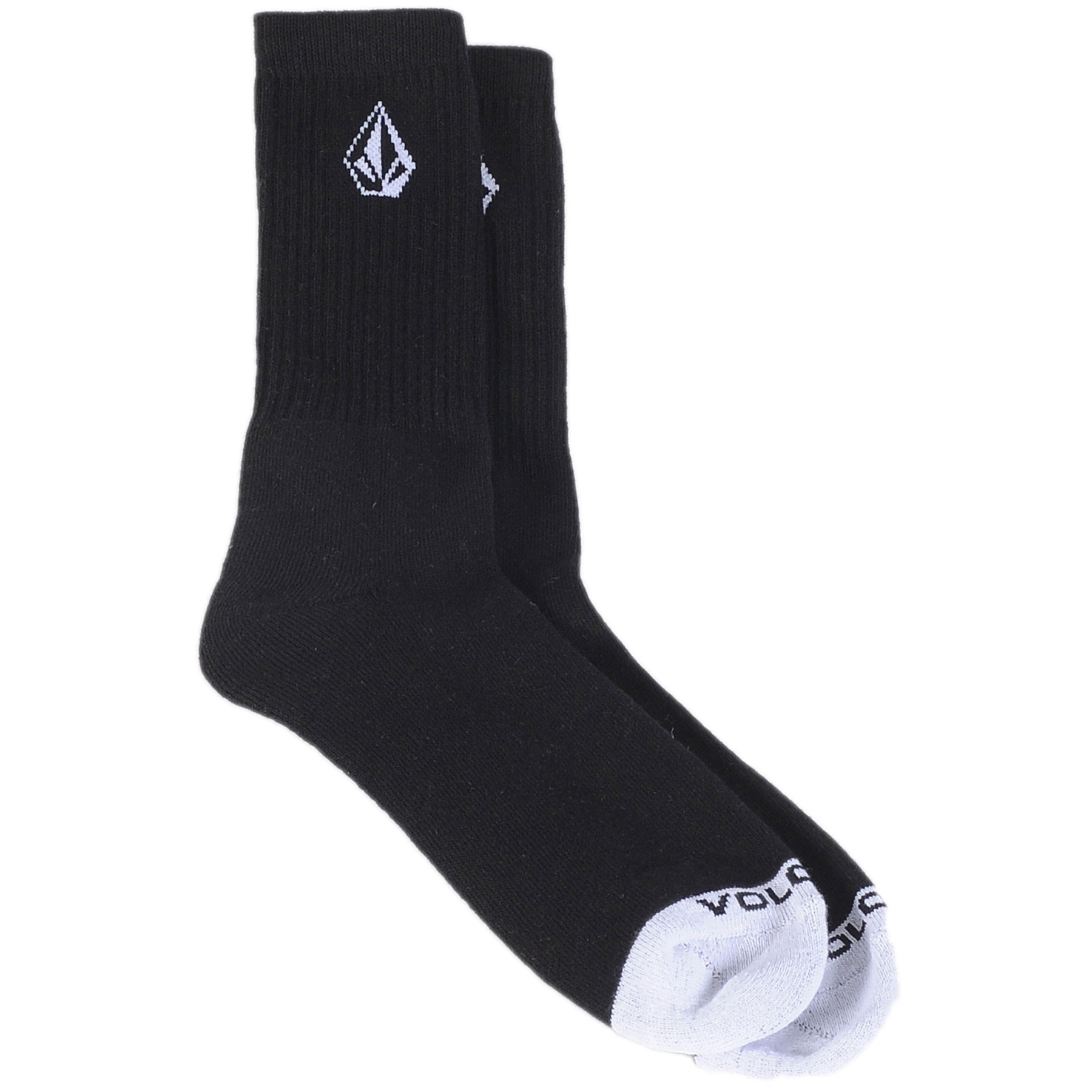 Socks With Stone Logo In Black - Black Volcom