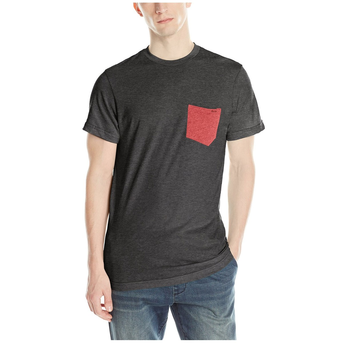 Black t shirt with pocket - Volcom Summer Switch Pocket T Shirt Heather Black