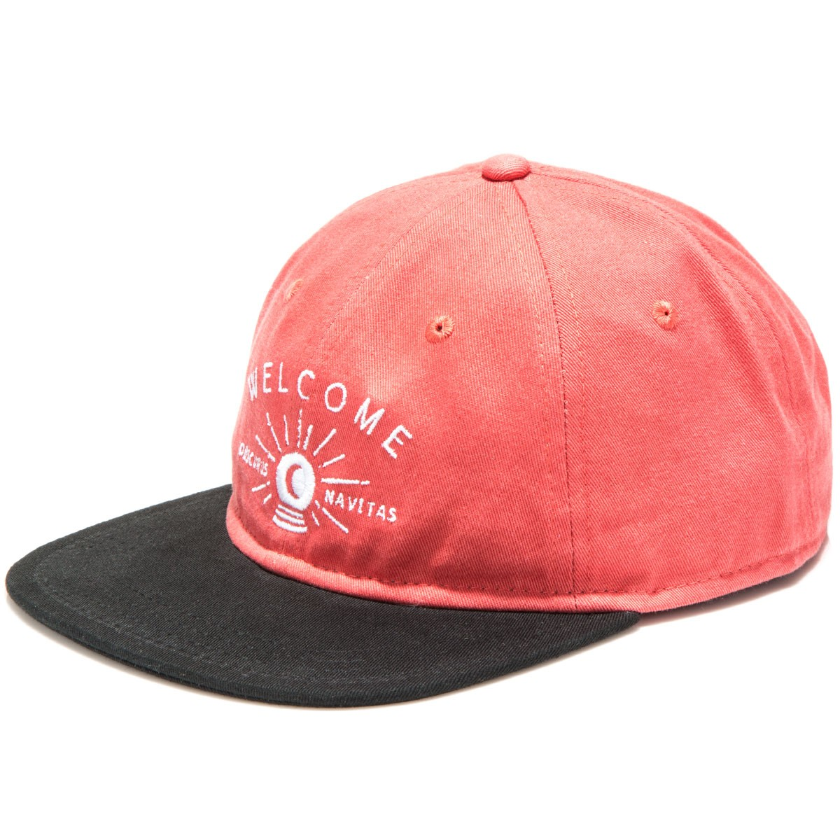 Welcome Dark Energy Unstructured 6-Panel Slider Hat - Coral/Black