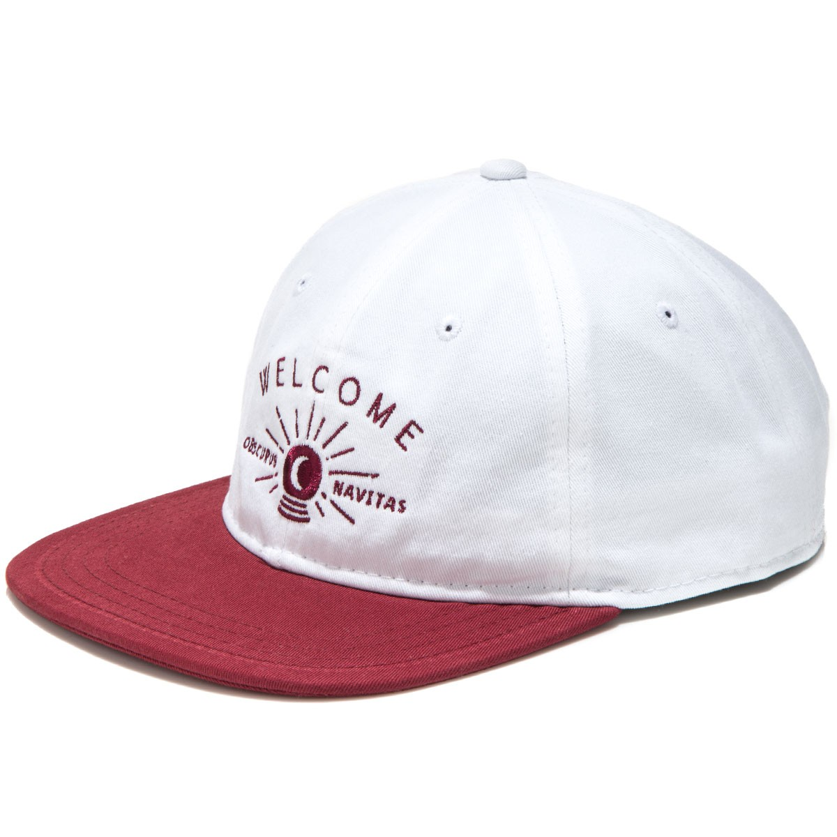 Welcome Dark Energy Unstructured 6-Panel Slider Hat - White/Maroon