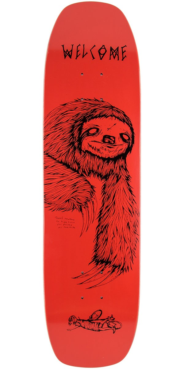 """Welcome Sloth Skateboard Deck - Coral - 8.4"""""""