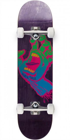 Santa Cruz Neon Screaming Hand Hard Rock Maple Skateboard Complete - 7.75