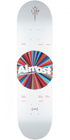 Almost Noble Color Wheel R7 Skateboard Deck - White - 8.125