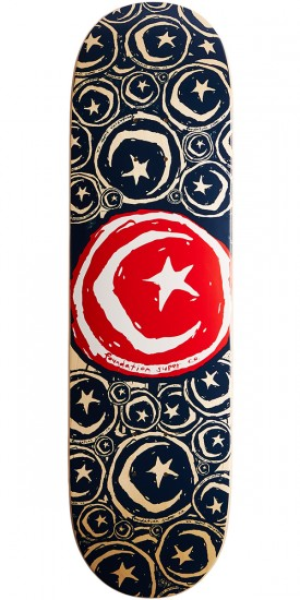 "Foundation Star and Moon Stickered Skateboard Deck - 8.75"" - Red"