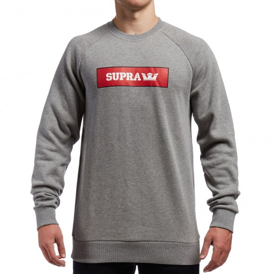Supra Logo Crew Fleece Sweatshirt - Heather Grey