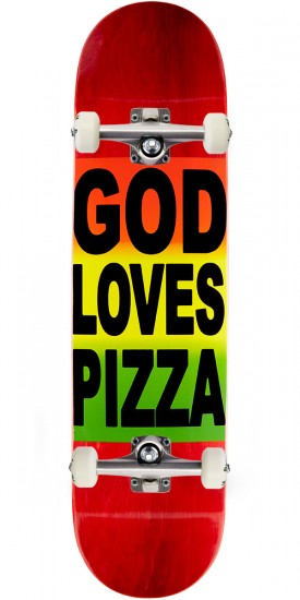 "Pizza God Loves Pizza Skateboard Complete- 8.125"" - Red Stain"