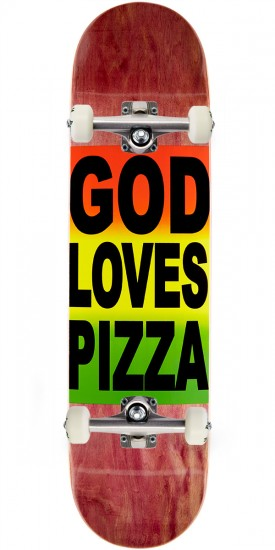 "Pizza God Loves Pizza Skateboard Complete- 8.125"" - Brown Stain"