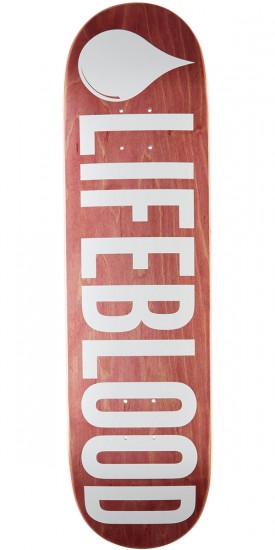 "Lifeblood Logo Skateboard Deck - 8.50"" - Maroon Stain"