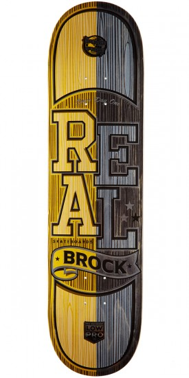 "Real Brock Timber LowPro 2 Skateboard Deck - 8.06"" - Yellow/Black Stain"