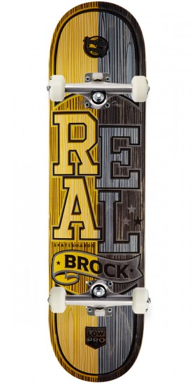 """Real Brock Timber LowPro 2 Skateboard Complete - 8.06"""" - Yellow/Black Stain"""