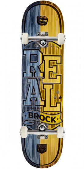 """Real Brock Timber LowPro 2 Skateboard Complete - 8.06"""" - Blue/Yellow Stain"""