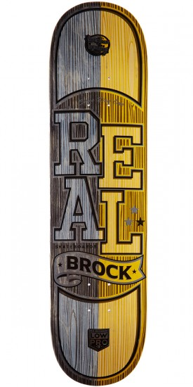 """Real Brock Timber LowPro 2 Skateboard Deck - 8.06"""" - Black/Yellow Stain"""