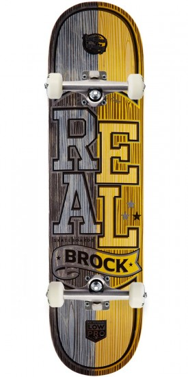 """Real Brock Timber LowPro 2 Skateboard Complete - 8.06"""" - Black/Yellow Stain"""