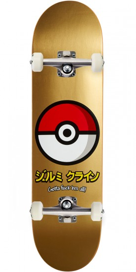 "JK Industries Pokeball Skateboard Complete - 8.00"" - Gold"