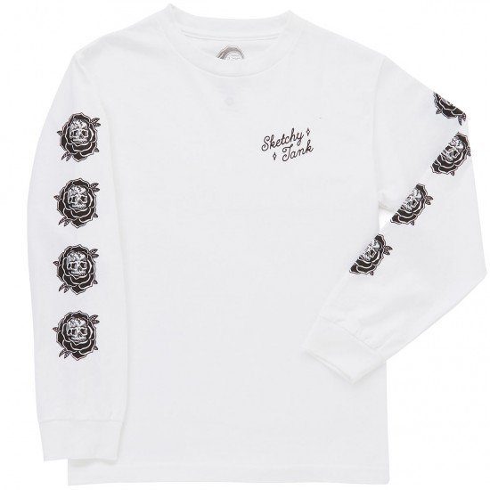 Sketchy Tank Roses Long Sleeve T-shirt - White