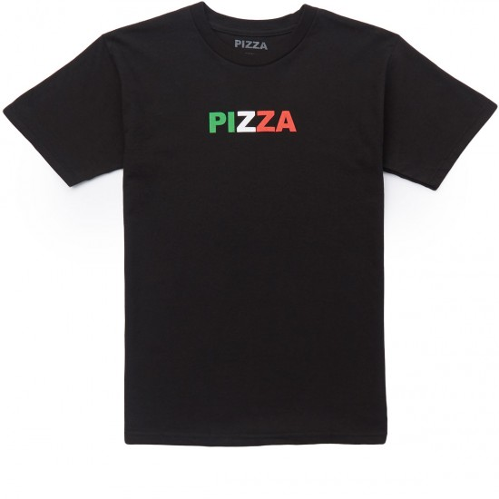 Pizza Tri Color Logo T-Shirt - Black