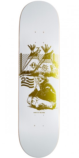 "Politic Native Skateboard Deck - 8.125"" - White/Gold"