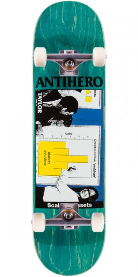 """Anti-Hero Taylor Business as Usual Skateboard Complete - 8.25"""" - Teal Stain"""