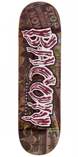 Bacon Psych Font Skateboard Deck - Red - 9.0""