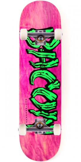 Bacon Woodgrain Logo Skateboard Complete - Green - 8.25""