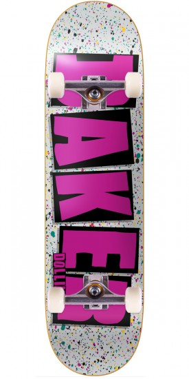 Baker Dollin Brand Name Splat Skateboard Complete - Grey - 8.00""
