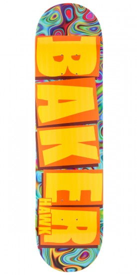 Baker Hawk Brand Name Skateboard Deck - Yellow/Psychedelic - 7.75""