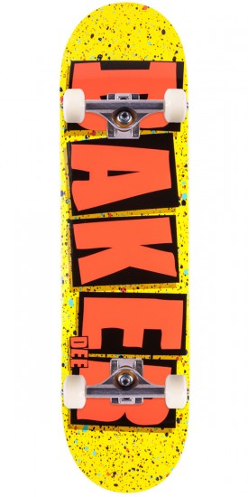 Baker Ostrander Brand Name Splat Skateboard Complete - Yellow - 8.25""