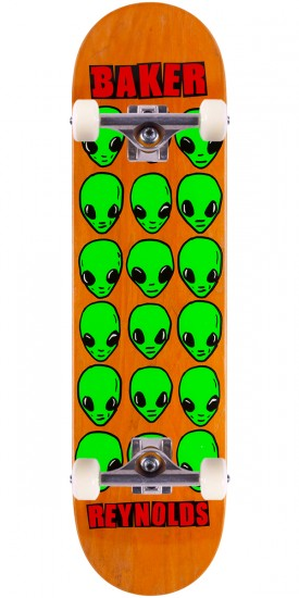 "Baker Reynolds Aliens Skateboard Complete - 8.0"" - Orange Stain"