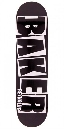Baker Reynolds Brand Name Skateboard Deck - Black/White - 8.0""