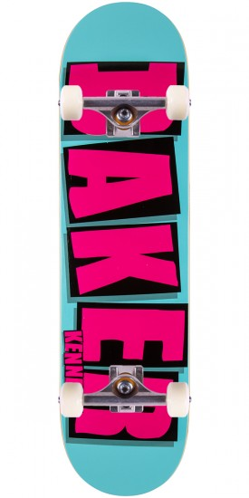 """Baker Kennedy Brand Name Skateboard Complete - Turquoise/Pink - 8.125"""""""