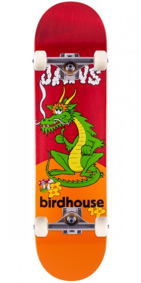 Birdhouse Jaws Dragon Skateboard Complete - Red Stain - 8.0""