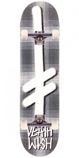 Deathwish Gang Logo Skateboard Complete - Grey Plaid - 8.00""