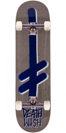 Deathwish Gang Logo Skateboard Complete - Stone/Navy Drip - 8.25""