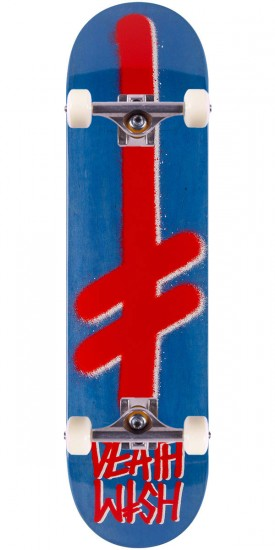 """Deathwish Gang Logo Stain Skateboard Complete - Blue/Red - 7.875"""""""