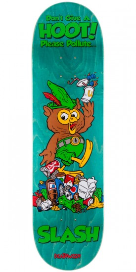 Deathwish Slash Mascot Mayhem Skateboard Deck - Teal Stain - 8.38""