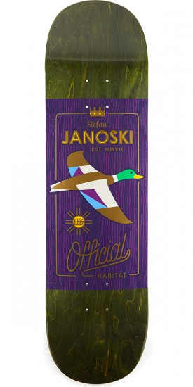"Habitat x Official Janoski Purple Skateboard Deck - 8.375"" - Green Stain"