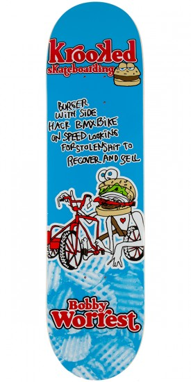 Krooked Worrest Flying Burger Gang Skateboard Deck - 8.125""