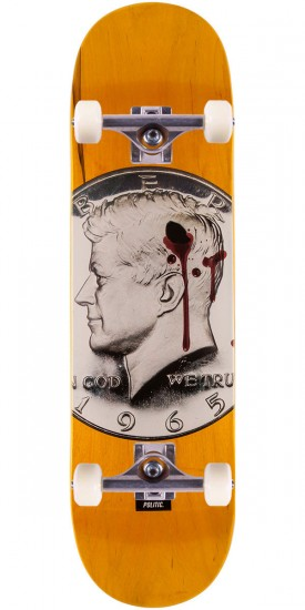 """Politic JFK Coin Skateboard Complete - 8.5"""" - Yellow"""