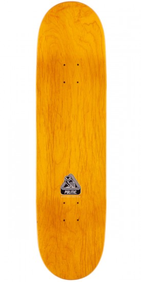 "Politic Wheel Head Skateboard Complete - 8.0"" - Yellow Stain"