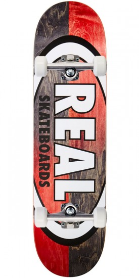 """Real Double Dipped Oval Skateboard Complete - 8.38"""" - Black Red"""