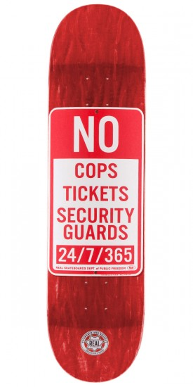 """Real Enforcement Prohibited Skateboard Deck - 8.06"""" - Red Stain"""