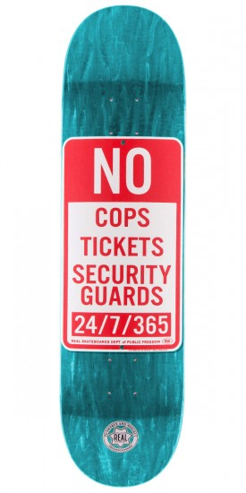 """Real Enforcement Prohibited Skateboard Deck - 8.06"""" - Teal Stain"""