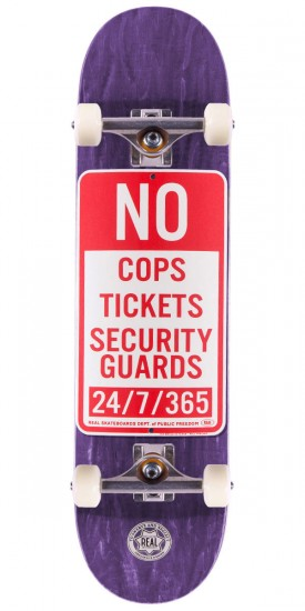 """Real Enforcement Prohibited Skateboard Complete - 8.25"""" - Purple Stain"""