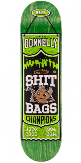 Real Jake Donnelly Champions Skateboard Deck - Green Stain - 8.18""