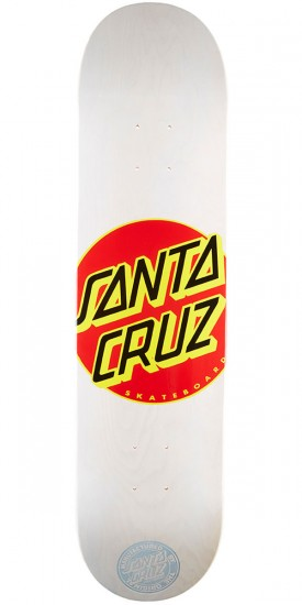 Santa Cruz Classic Dot Skateboard Deck - White - 7.70""